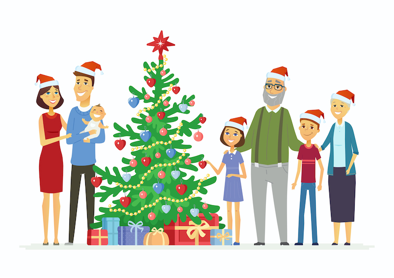 Happy family celebrates Christmas - cartoon people characters illustration on white background. Smiling mother and father with children and grandparents standing next to a decorated tree with presents